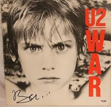 """BONO Signed Autographed U2 """"War"""" Album LP PSA/DNA #Z64160"""