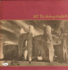 Bono signed The Unforgettable Fire U2 record album cover W/JSA Letter
