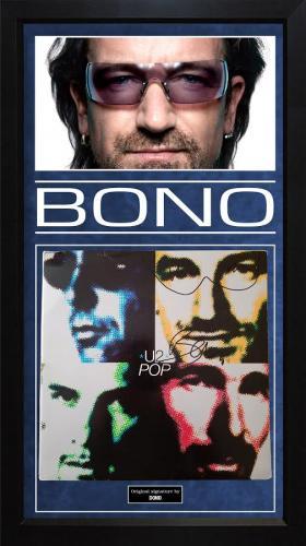 Bono U2 Autographed Signed Album Cover Custom Display AFTAL UACC RD COA