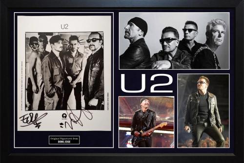 Bono U2 Edge Autographed Signed 8x10 Photo Custom Display AFTAL UACC RD CO