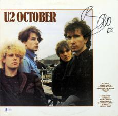 Bono U2 Signed October Album Cover W/ Vinyl Autographed BAS #C19044