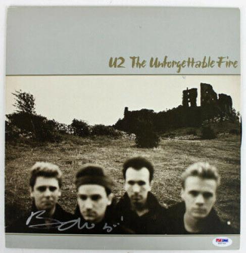 Bono U2 The Unforgettable Fire Signed Album Cover W/ Vinyl PSA/DNA #Z55763