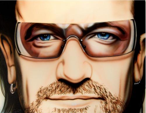 Bono U2 Un-Signed Rare Hand Painted 28x22 Canvas