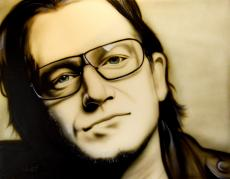 Bono U2 Un-Signed Rare Hand Painted 28x22 Canvas Painting