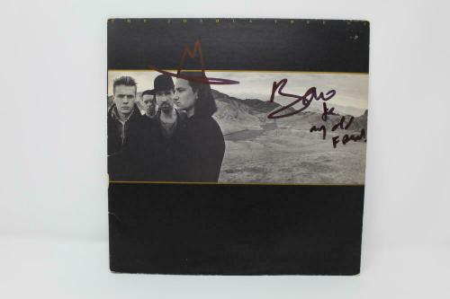 Bono W/ Sketch Signed Autograph Album Record - U2 The Joshua Tree, The Edge Real