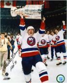 Mike Bossy New York Islanders Autographed 8'' x 10'' Photograph with ''HOF '91'' Inscription - Mounted Memories