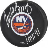 Mike Bossy New York Islanders Autographed Logo Puck with ''HOF 91'' Inscription - Mounted Memories