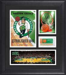 "Boston Celtics Team Logo Framed 15"" x 17"" Collage with Team-Used Baseketball"