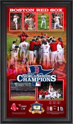 Boston Red Sox 2013 MLB World Series Champions 10'' x 18'' Framed Collage with Game-Used Baseball - Mounted Memories