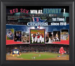 Boston Red Sox 2013 World Series Champions 15x17 Framed Win at Fenway Collage with Game-Used Baseball-Limited Edition of 500