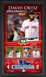 David Ortiz Boston Red Sox 2013 MLB World Series Champions 10'' x 18'' Framed MVP Collage with Game-Used Baseball - Mounted Memories