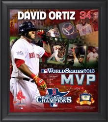 David Ortiz Boston Red Sox 2013 MLB World Series Champions Framed MVP 15'' x 17'' Collage with Game-Used Baseball - Mounted Memories