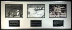 Boston Sports Legends Signed 8x10 Photo Display Bird/Orr/Williams PSA/DNA COA