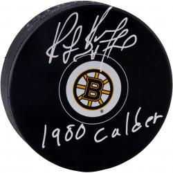 "BOURQUE, RAY AUTO ""1980 CALDER"" (BRUINS) LOGO PUCK - Mounted Memories"