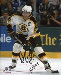 "Ray Bourque Boston Bruins Autographed 8"" x 10"" Vertical Puck Photograph with HOF 04 Inscription"