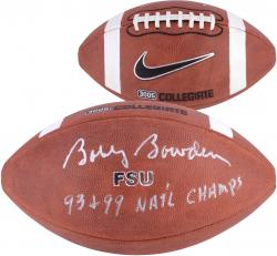 Bobby Bowden Florida State Seminoles Autographed Game Football with 93,99 Nat'l Champs