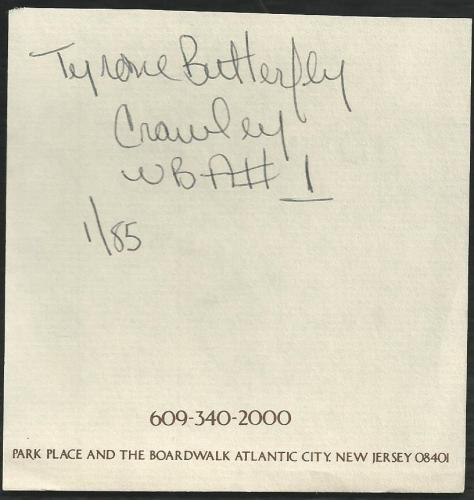 Boxer Tyrone Butterfly Crawley Signed Auto Vitage Atlantic City Album Page  TD
