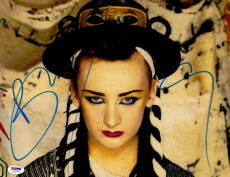 "Boy George Autographed 11"" x 14"" Blue Eyeliner and Red Lipstick Photograph - PSA/DNA COA"