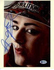 "Boy George Autographed 8""x 10"" Wearing Demolition Hat Photograph - Beckett COA"