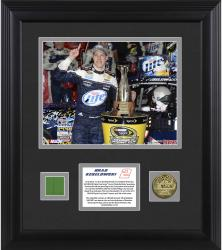 """Brad Keselowski 2013 Bank of America 500 Framed 8"""" x 10"""" Photograph with Gold Coin & Race-Used Flag - Limited Edition of 102"""
