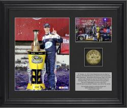 Brad Keselowski 2013 Bank of America 500 Race Winner Framed 2-Photograph Collage with Gold-Plated Coin - Limited Edition of 302 - Mounted Memories