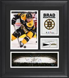 """Brad Marchand Boston Bruins Framed 15"""" x 17"""" Collage with Piece of Game-Used Puck"""