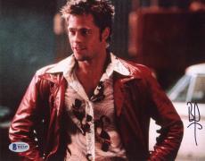 "Brad Pitt Autographed 8"" x 10"" Fight Club Red Jacket Photograph - Beckett COA"