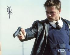 """Brad Pitt Autographed 8"""" x 10"""" Seven Holding Gun Photograph - Beckett COA"""