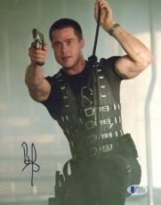 "Brad Pitt Autographed 8""x 10"" Mr. & Mrs. Smith Hanging from Rope Photograph - BAS COA"