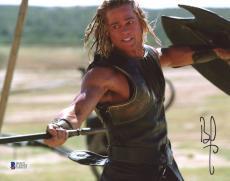 "Brad Pitt Autographed 8""x 10"" Troy Holding Spear Photograph - BAS COA"