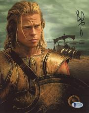 """Brad Pitt Autographed 8""""x 10"""" Troy Ships in Background Photograph - BAS COA"""