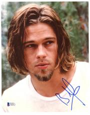 "Brad Pitt Autographed 8""x 10"" White Shirt Photograph - BAS COA"