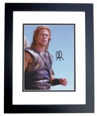 Brad Pitt Autographed Achilles in TROY 8x10 Photo BLACK CUSTOM FRAME