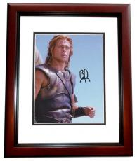 Brad Pitt Autographed Achilles in TROY 8x10 Photo MAHOGANY CUSTOM FRAME