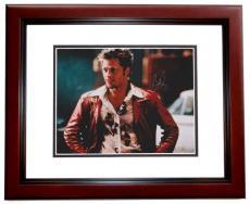 Brad Pitt Autographed FIGHT CLUB 8x10 Photo MAHOGANY CUSTOM FRAME