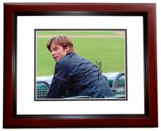 Brad Pitt Autographed MONEY BALL 8x10 Photo MAHOGANY CUSTOM FRAME