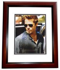 Brad Pitt Autographed Sexy 8x10 Photo MAHOGANY CUSTOM FRAME