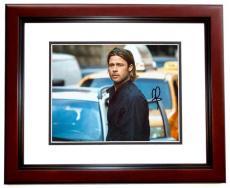 Brad Pitt Autographed WORLD WAR Z 8x10 Photo MAHOGANY CUSTOM FRAME