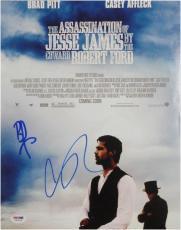 Brad Pitt Casey Affleck Dual Hand Signed Autographed 11X14 Photo PSA W13218