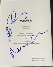 "Brad Pitt & Matt Damon Cast Signed Autograph ""ocean's Eleven"" Movie Script X4"