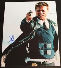 "Brad Pitt Signed Autograph Classic ""seven"" Gun Pose Rare 11x14 Photo Jsa L74076"