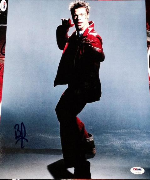 Brad Pitt Signed Autograph Fight Club Promo Poster 11x14 Photo Psa/dna Z97637