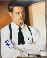 "Brad Pitt Signed Autograph ""seven"" Intense Famous Scene 11x14 Photo Jsa L74035"