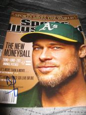 Brad Pitt Signed Autograph Sports Illustrated Money Ball Oakland Athletics Coa F