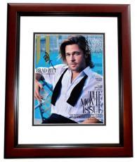 Brad Pitt Signed - Autographed Sexy 8x10 Photo MAHOGANY CUSTOM FRAME