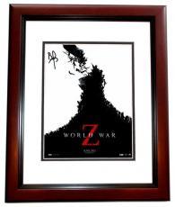 Brad Pitt Signed - Autographed World War Z 11x14 Photo - MAHOGANY CUSTOM FRAME