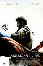 """Bradley Cooper Autographed 12"""" x 18"""" American Sniper Movie Poster Signed in Black - PSA/DNA"""