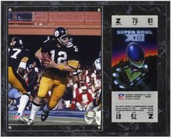 Pittsburgh Steelers Super Bowl XIII Terry Bradshaw Plaque with Replica Ticket - Mounted Memories