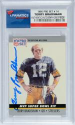 Terry Bradshaw Pittsburgh Steelers Autographed 1990 Pro Set #14 Card - Mounted Memories