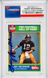 Terry Bradshaw Pittsburgh Steelers Autographed 1990 Swell #1 Card - Mounted Memories